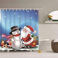 クリスマススノーフレークフォーマルドレス老人浴室カーテンポリエステルシャワーカーテン3Dデジタル印刷防水クイック乾燥パーティションカーテンホームバスタブ12pcsフック付きカーテンを吊るす (Size : 180x200cm)