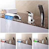 洗面器の水の蛇口LED RGBライトの滝洗面所の流しのミキサーは、浴室のタップ継手とホース&handheldChrome仕上げ