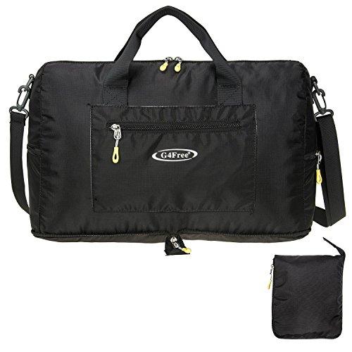 G4Free 折りたたみ ダッフルバッグ 旅行バッグ ボストンバッグ 25L軽量 スポーツ ジム ショピング (ブラック)