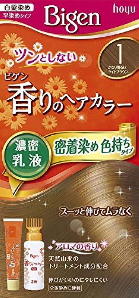 セッティング巻き戻す保安ホーユー ビゲン香りのヘアカラー乳液1 (かなり明るいライトブラウン) 40g+60mL ×6個