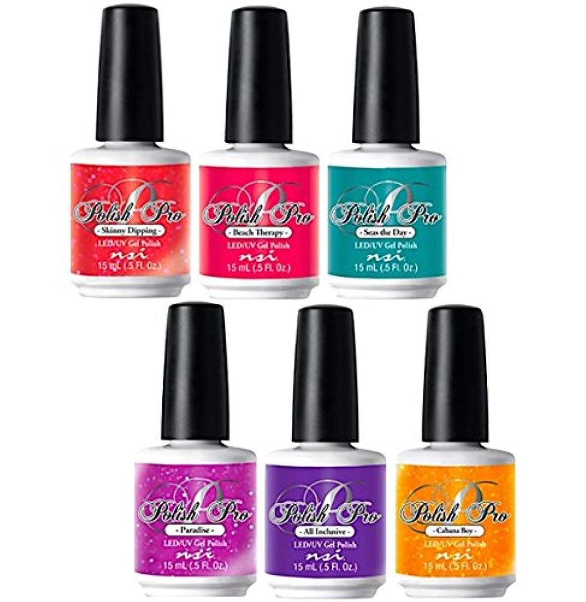あいにくビルダー余分なNSI Polish Pro Gel Polish - The Island Resort Collection - All 6 Colors - 15 ml/0.5 oz Each