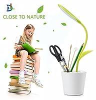 D & L withホルダー、柔軟なネックUSBタッチLEDデスクランプテーブルライトwith 3-level減光とインテリア植物鉛筆ホルダー。