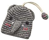 かわいいプル財布手織り財布キーチェーンリンググレー