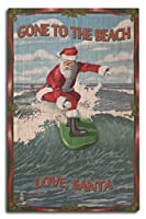 Gone to the Beach、Loveサンタ – Santaサーフィン 10 x 15 Wood Sign LANT-76493-10x15W