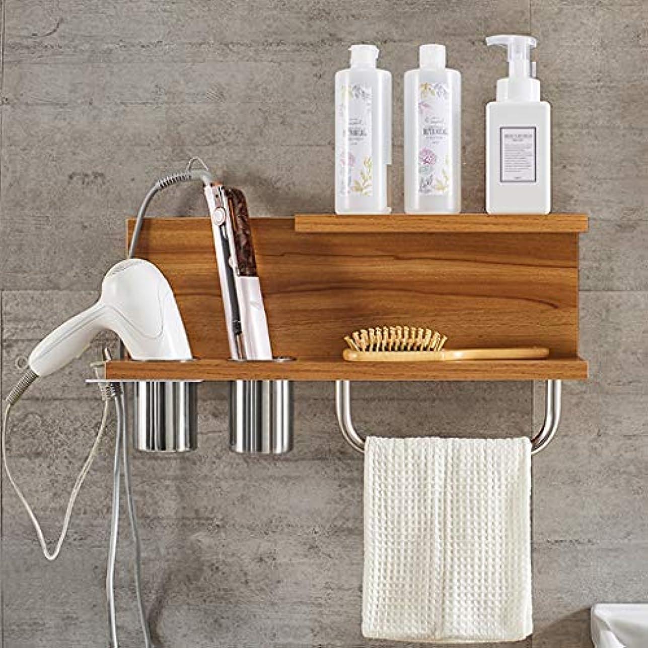 タール用語集白鳥浴室のヘアードライヤーの空気管フレームの壁に取り付けられた貯蔵の棚の棚のタオル掛けの浴室の防水棚の棚の浮遊壁 (Color : Brown)