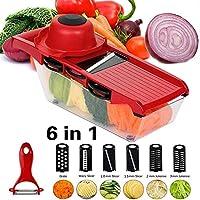 マンドリンスライサー、調節可能な野菜カッター、多機能キッチンガジェット、野菜シュレッダー、おろし器、チョッパー、カッター。