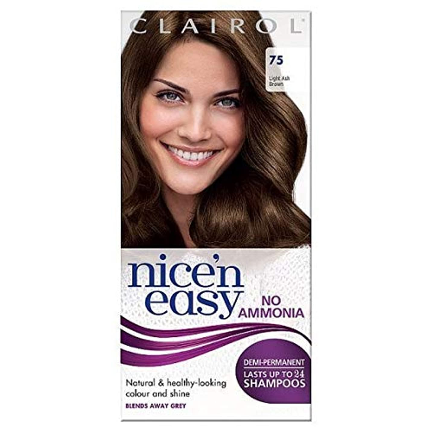 閃光発症バッグ[Nice'n Easy] Nice'N簡単に何のアンモニアの染毛剤光アッシュブラウンません75 - Nice'n Easy No Ammonia Hair Dye Light Ash Brown 75 [並行輸入品]