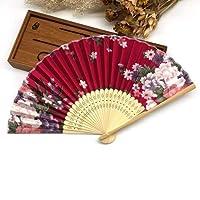Rexulikoz - 10個入り/ロット繊細な中国風の花花布折りたたみハンドファン桜折りたたみハンド結婚式の装飾 [4 ]