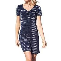 Upopby Women's Summer Casual T Shirt Dresses Printed Short Sleeve Knee Length Midi Dresses Plus Size