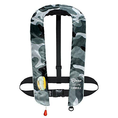 EYSON釣り用 自動膨張 男女兼用 インフレータブルライフジャケット 肩掛けタイプ CE認定済
