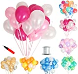 (ジンセルフ) JINSELF あんしん極厚風船 100個セット 弾力2倍 高品質 キラキラ光沢 誕生日 結婚式 パーティー お祝い 飾り付け 飾り 装飾 デコレーション 空気入れ ピンクローズ