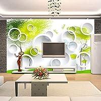 Xbwy 3Dルームの壁紙カスタム写真壁画不織布壁紙サークル抽象ツリーソファテレビの背景壁の壁紙のための壁3D-120X100Cm