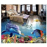 山笑の美 壁画防水壁紙床塗装熱帯魚壁紙壁画塗装浴室床-200X150CM