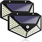 Komak LED Solar Lights Outdoor,100LED Solar Motion Sensor Lights Outdoor Pathway/Garden,Automatic Turn on at Night,Waterproof Solar Outdoor Angel Wall Light for Gate,Yard,Garage (2 Packs)