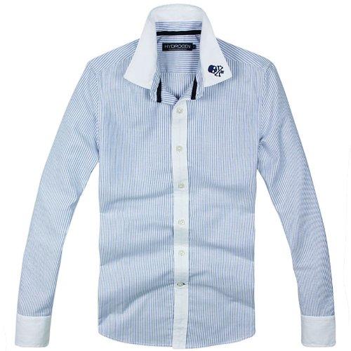 (ハイドロゲン)HYDROGEN メンズ長袖 カジュアル カラー シャツ スカル刺繍 ストライプ (M, ブルー)