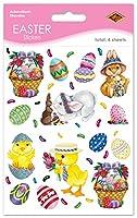 Beistle 440024-パックBunnyバスケットと卵のパーティのステッカーシート、4–3/ 4by 7–1/ 2インチ マルチカラー FBA_44002