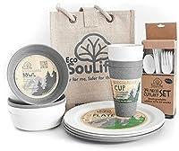 Ecosoulife生分解性Eco Dineセット–( 4xプレート、4xカップ、1xボウル)