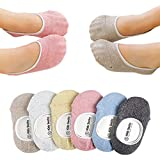 Baby Girls Boys Socks No Show Non-skid for Toddler 6 Pairs (M)