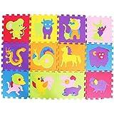 Dolity 12pcs Cartoon Animal Pattern Carpet EVA Foam Puzzle Mats for Kids Baby Play Crawling Mats