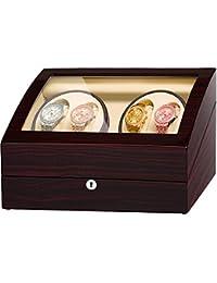 JQUEEN ワインディングマシーン (4本巻+6本収納) ウォッチワインダー マブチモーター 時計収納 自動巻 腕時計ケース 木製 エコロジー 静音 レッド ブラウン