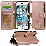【Arae】iPhone6s Plus ケース / iPhone6 Plus ケース 手帳型 スタンド ストラップ カード マグネット 財布型 落下防止 衝撃吸収 おしゃれ おすすめ アイフォン6s プラス / アイフォン6 プラス ケース カバー(ローズゴールド)