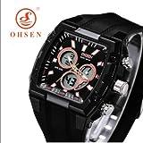 meu Amor   腕時計 シンプル スポーツ タイプ スポーツ カジュアル ビジネス オフタイム  (OHSEN スクエア スポーツ, ブラック)