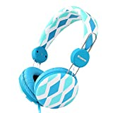 Sound Intone IP-810 可愛くておしゃれなデザインを持つヘッドホン ヘッドフォン 優れた遮音性能高音質女の子子供向けイヤホン ヘッドセット スマホ コンピューター PC等に対応   (ブルー花柄)