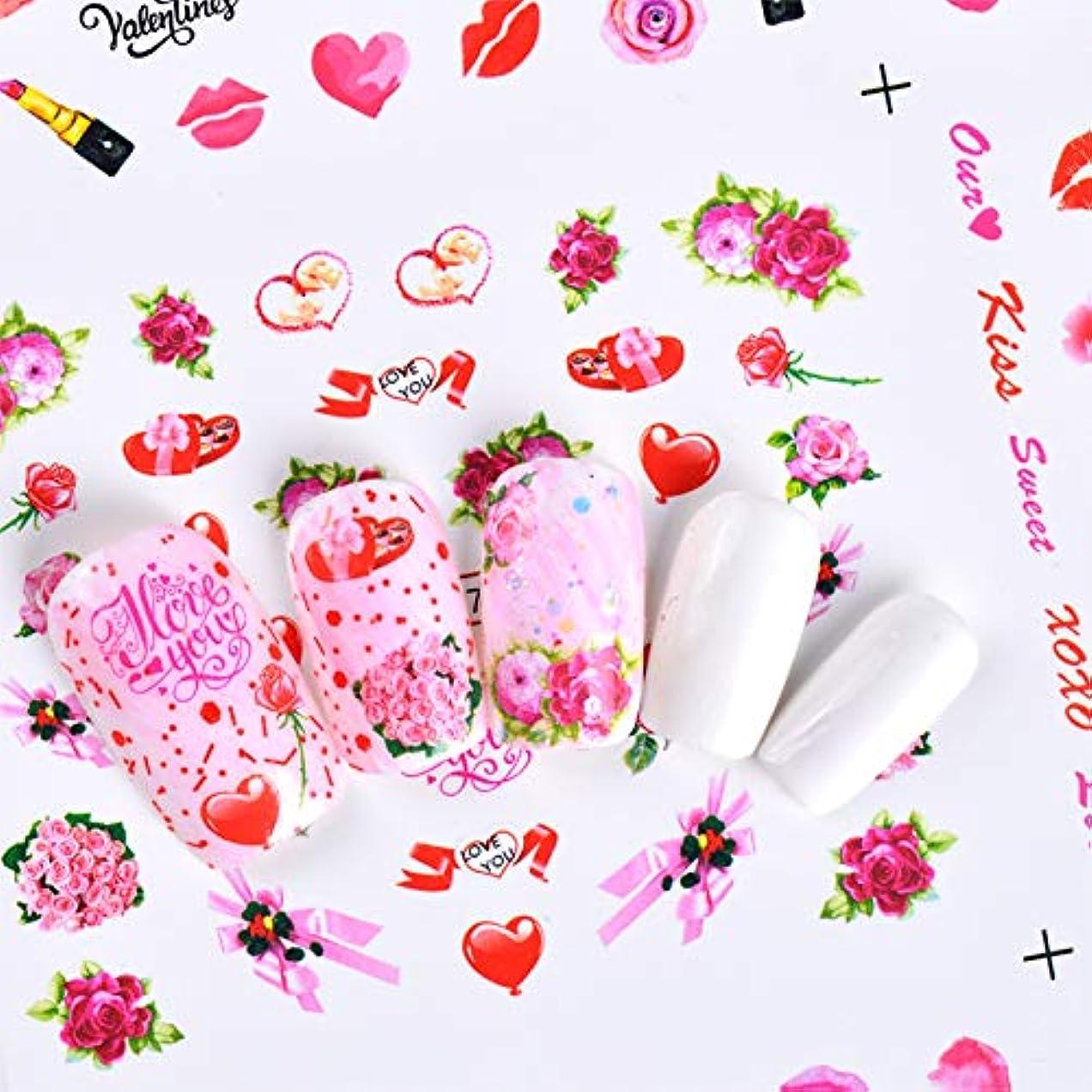再開まっすぐにする追放するSUKTI&XIAO ネイルステッカー 12デザインロマンチックなローズハートネイルアート水花フローラ美容転送ステッカーデカールラップマニキュア装飾ツール