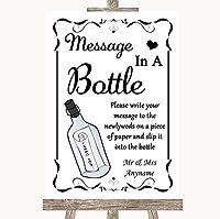 ブラック&ホワイトMessage In A Bottle PersonalizedウェディングSign Large A3