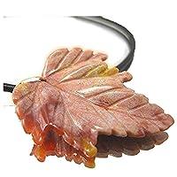 秋の葉っぱ天然ジャスパー皮ひもペンダント 2136