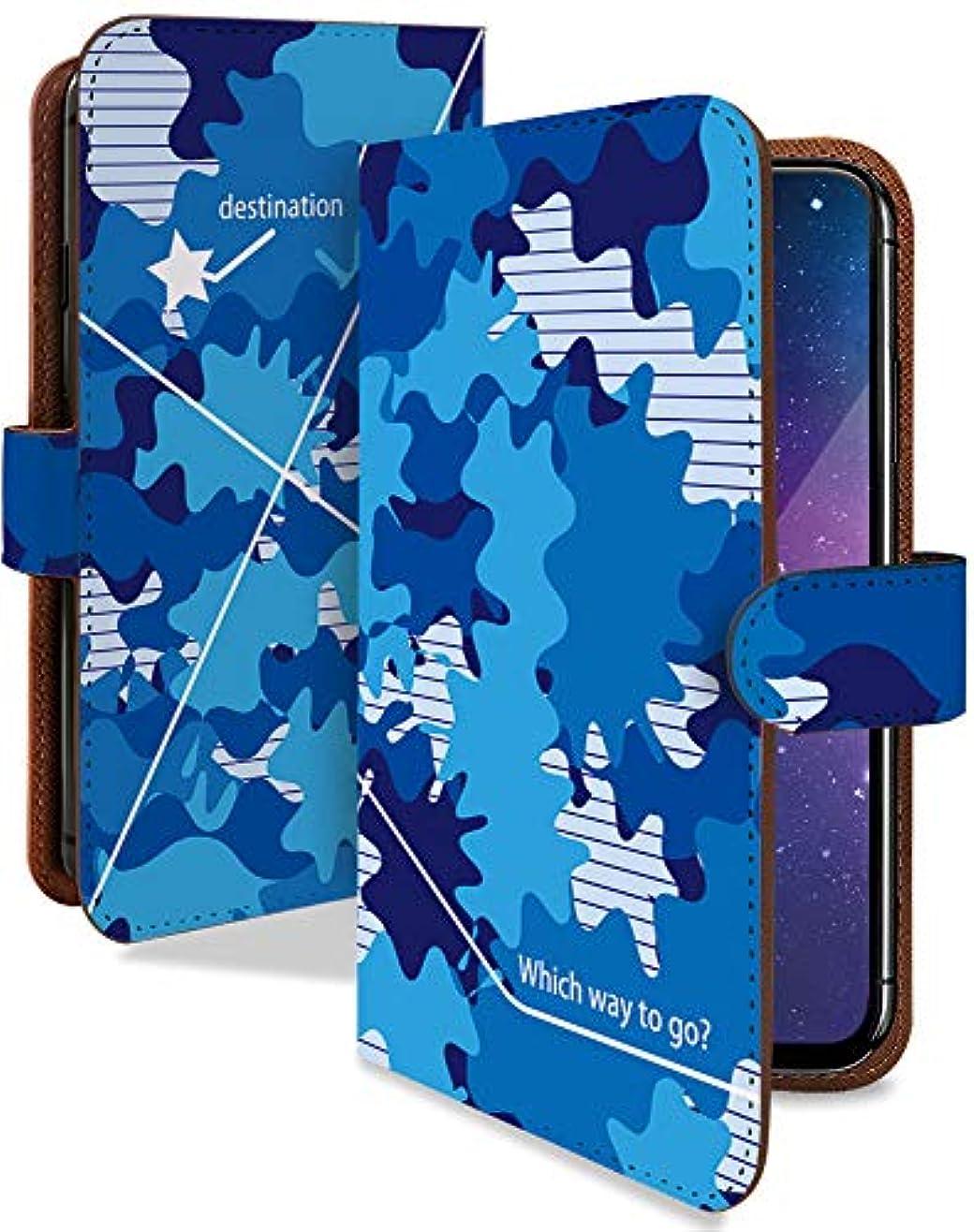 従う打撃マイクロFREETEL REI2 Dual ケース 手帳型 携帯ケース 迷彩 ポップ 青 カモフラ 青 おしゃれ フリーテル レイ デュアル スマホケース 生地 テキスタイル カメラレンズ全面保護 カード収納付き t0681-00404