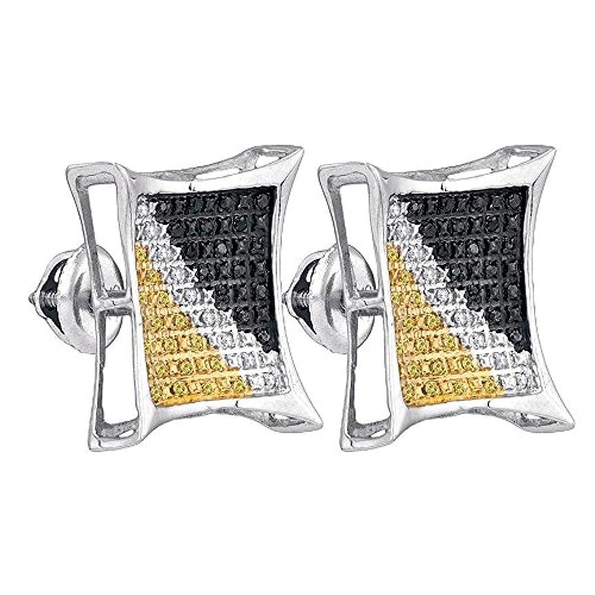 パンフレット勉強するチャペルスターリングシルバー男性用ラウンドブラックイエローカラーEnhancedダイヤモンド正方形クラスタイヤリング(0.25 Cttw。)(i2 - i3 Clarity ;ブラックカラー