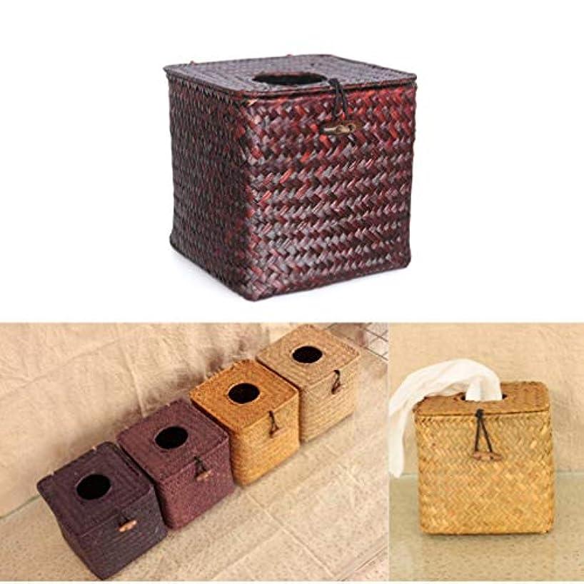 熱望する有能なに応じてVosarea Seagrass Napkin Handwoven Tissue Paper Cover Holder Box for Desk Bathroom Hotel(Espresso + Minimum Sell...