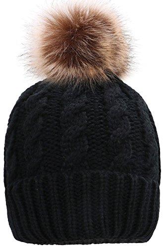 冬 ニット帽 ビーニー ポンポン付き ブラック