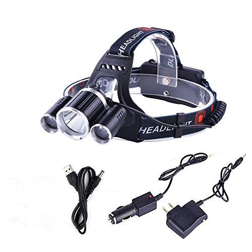 「KBook」ヘッドライト led ワークライト 作業灯 超強力超明るい 1x T6led+ 2x R5led 充電式 4モード 防水防災 90°調節可 アウトドア活動に一番のコンパニオン(ACアダプター、車載充電器、USBポート付き)