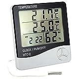 デジタル アラーム 時計 多機能 デジタルサーモ計 時計 温度計 湿度計 (内外温度計)