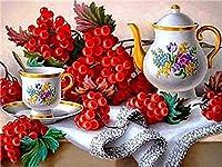 LovetheFamily 赤いおやつと午後お茶 数字キットによる絵画 数字油絵 数字キット塗り絵 手塗り DIY絵 デジタル油絵 ホーム オフィス装飾 (40x50cm, フレームレス)