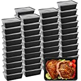 Meal Prep Containers, 50 Pack Microwavable Food Storage Containers Plastic Disposable Insulated Reusable Bento Boxes with Lid