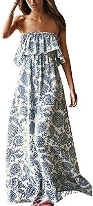 Yidarton Women Summer Blue and White Porcelain Strapless Boho Maxi Long Dress