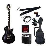 PhotoGenic エレキギター 初心者入門ライトセット レスポールカスタムタイプ LP-300/BK ブラック