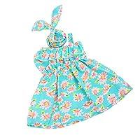 T TOOYFUL ワンショルダードレス ヘアバンド 花柄 人形服 18インチアメリアガールドール人形用 装飾 全3色 - 緑