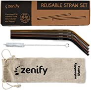 Zenify Reusable Straws Bent Angled with 4X Metal Straw + Bag + Cleaner - Eco Friendly Stainless Steel Kids Drinking Gift Set