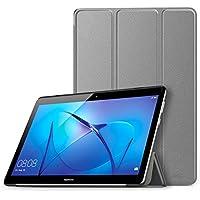 Huawei MediaPad T3 10 ケース - ATiC Huawei MediaPad T3 10タブレット専用開閉式三つ折り薄型スタンドケース GRAY