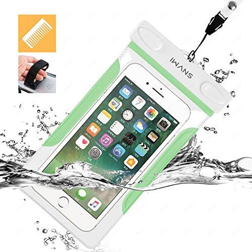 iWANS 防水ケース スマホ用防水ポーチ 防水等級IPX8 高感度PVCタッチスクリーン お風呂 温泉 潜水 5.5インチまでのiPhoneとAndroidスマホに対応可能 GREEN