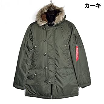 N-3B ミリタリージャケット 中綿ジャケット メンズコート カジュアルコート アウター コート (カーキ・M)