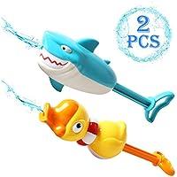 AKOi 水鉄砲 空気ポンプ型 超強力飛距離 サメ?アヒル 2点セット水遊び お風呂用おもちゃ