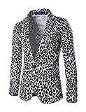 スーツ メンズ カジュアル 豹柄 スリム パーティー 長袖グラストア(Glestore)白XL
