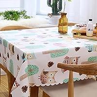 PVCテーブルクロスのフクロウのパターン防水オイル防止のホットレストランダイニングテーブルシンプルなフレッシュコーヒーテーブルカバーソフト耐久性 KKY-ENTER (サイズ さいず : 90*135cm)