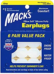 Mack's Pillow Soft Silicone Earplugs - 6 Pair, Value Pack – The Original Moldable Silicone Putty Ear Plugs