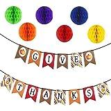 感謝祭バナー用紙Hangingガーランドバナー感謝祭パーティーDecoration with 6 Tissue Paper Pom Pom Balls
